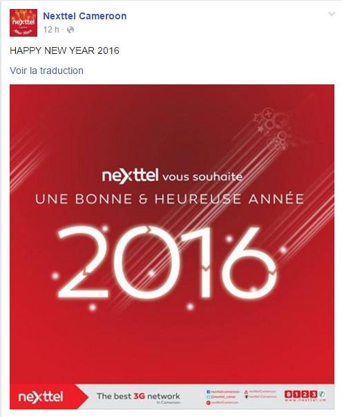 Nexttel Cameroun Page Facebook