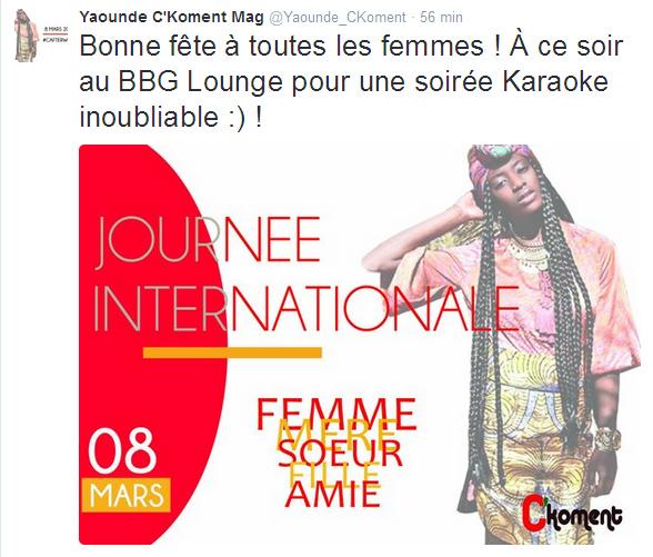 Compte twitter Yaoundé C Koment