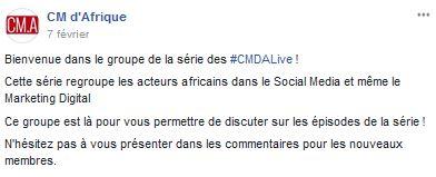 Groupe Facebook CM d'Afrique CMDALive